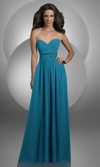 Ruched Chiffon Long Strpless Sweetheart V Neck Elegant Peacock Prom Dresses